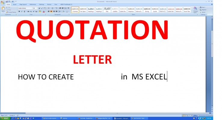 HOW TO MAKE QUOTATION LETTER in MICROSOFT EXCEL MCT TRAINING