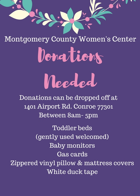 Donated items needed to help with flood disaster relief - Montgomery - Disaster Relief Flyer