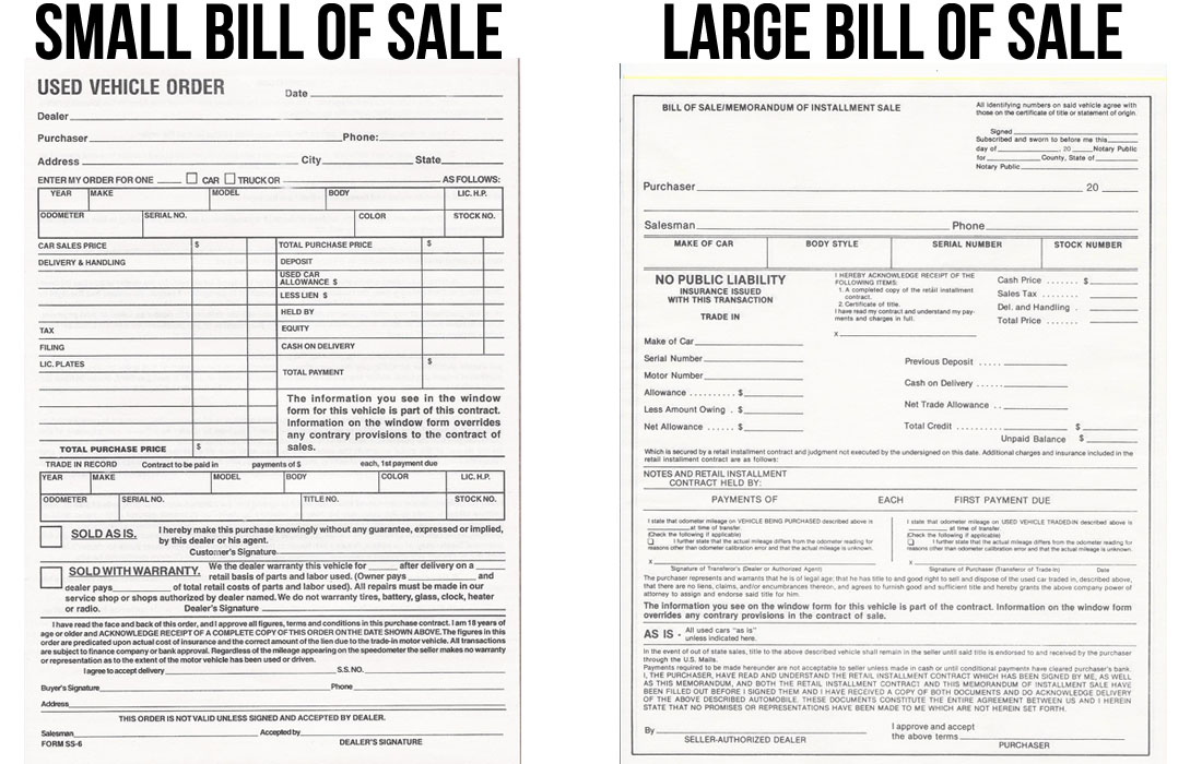 Bill of Sale M  D Auto Dealer Supply - bill of sale for car