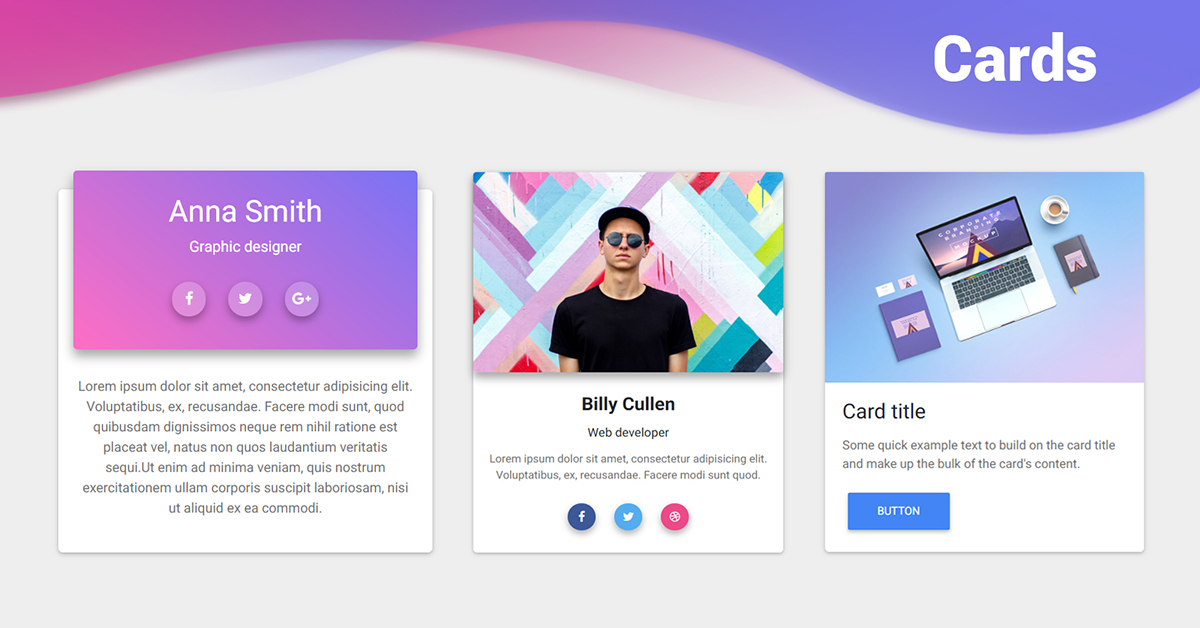 Bootstrap Cards - examples  tutorial Basic  advanced usage