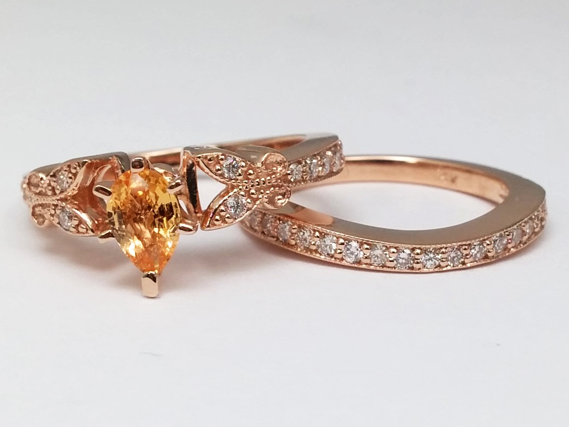 vintage wedding bands uk butterfly wedding rings Vintage wedding bands uk Peach Champagne Sapphire Butterfly Vintage Engagement Ring Matching Wedding Band 0