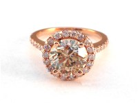 European Engagement Ring - Champagne Diamond Halo ...