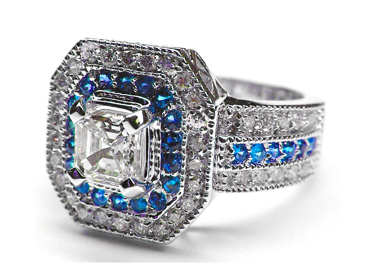 Bleue Saphir Streaming Engagement Ring Square Halo Diamonds And Blue Sapphires