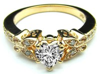 Engagement Ring -Heart Shape Diamond Butterfly Vintage ...