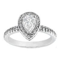Engagement Ring -Pave Set Pear Shaped Diamond Crown ...