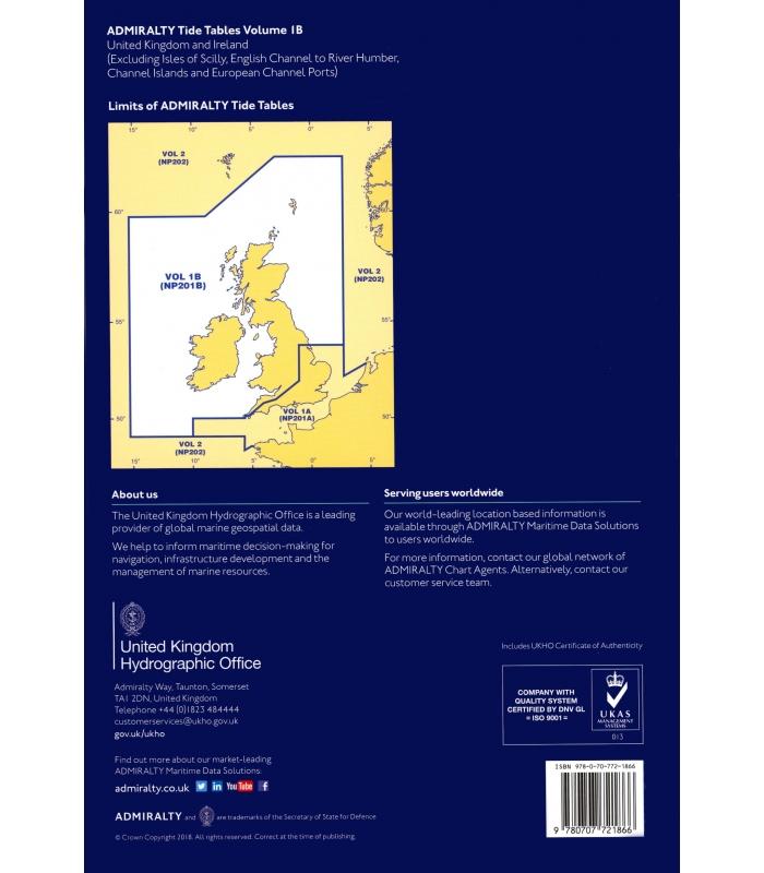 ADMIRALTY Tide Tables, Vol 1B, United Kingdom and Ireland, 2019 Ed