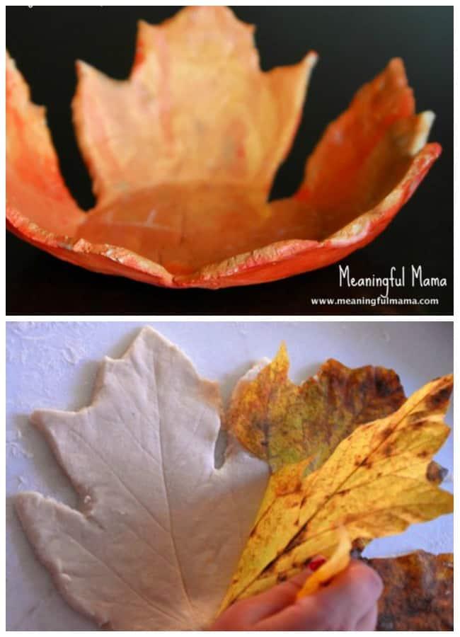 leaf bowl salt dough fall craft kids
