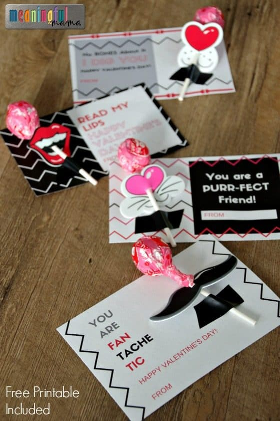 Lollipop Lips and Mustache Printable for Valentine\u0027s Day