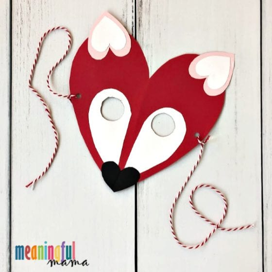 Valentine\u0027s Day Fox Craft for Kids with a Free Printable