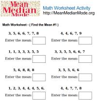 Math Worksheet Activity ( Find the Mean #1 ) | Mean Median ...