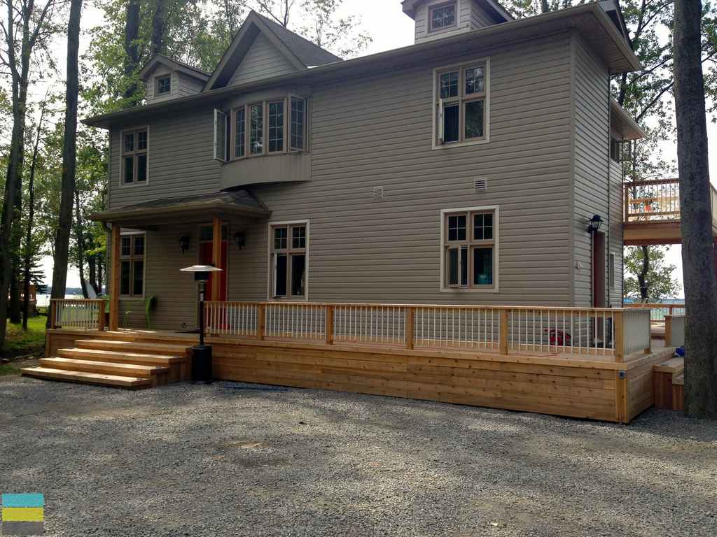 Azek Decking Reviews 2 Level Cedar Deck At A Cottage - M.e. Contracting