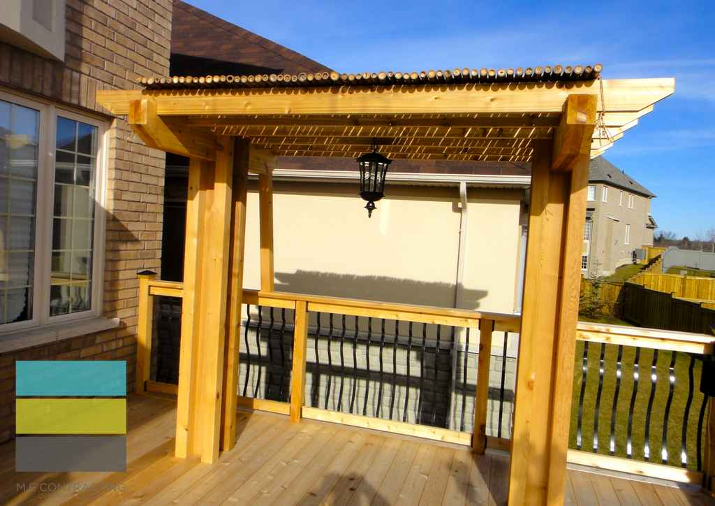 Azek Decking Reviews 2 Level Cedar Deck With Wrought Iron Railings, Pergola And