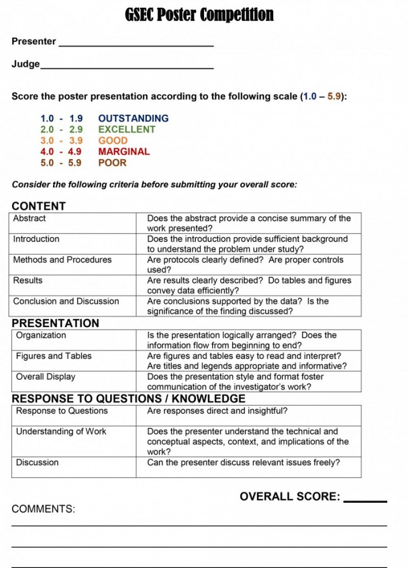 Poster Judging Form Scoring Sheet And Evaluation Criteria At Mcgovern Medical School