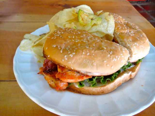The Buffalo chicken sandwich at Flip Flop Sandwich Shop is quite spicy, how I like it.