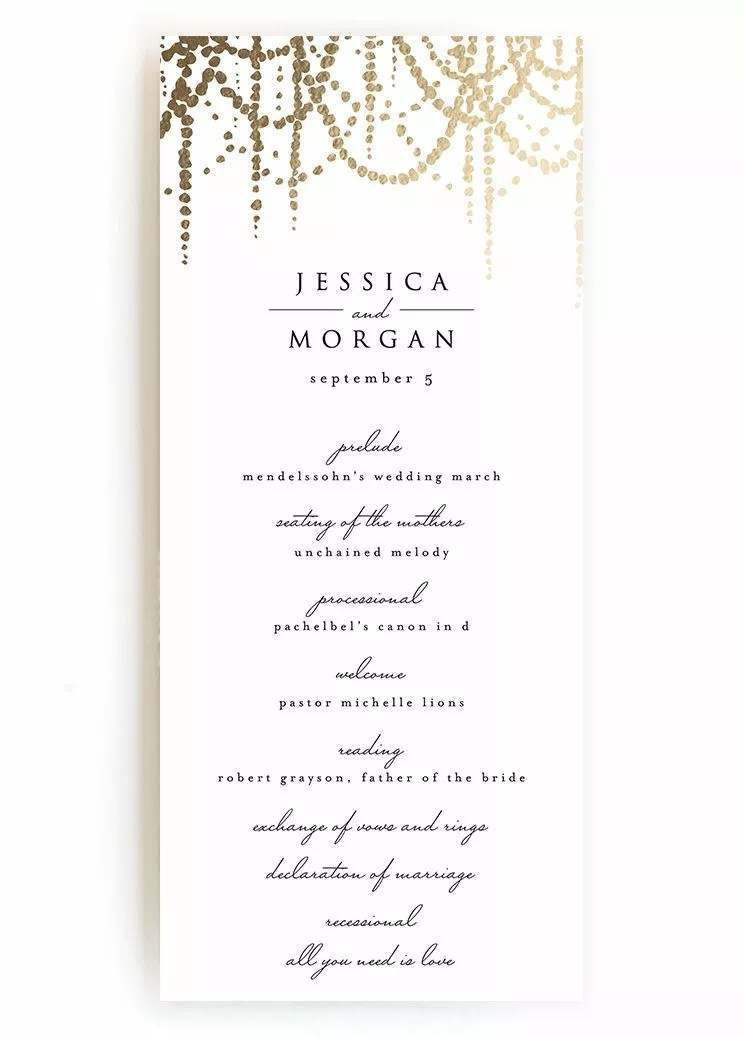Creative Wedding Ceremony Program DIY Templates - wedding program