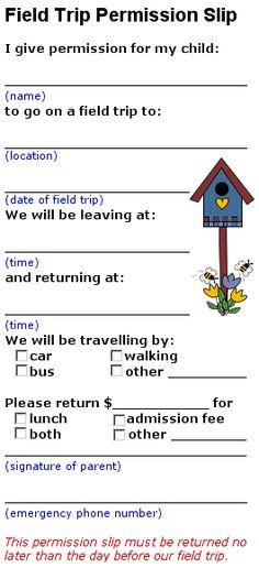 field trip permission letters