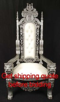 Carved Mahogany King Lion Gothic Throne Chair Silver Paint ...