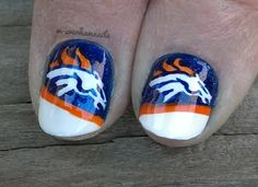 Denver Broncos Nail Art On Pinterest Denver Broncos Nfl
