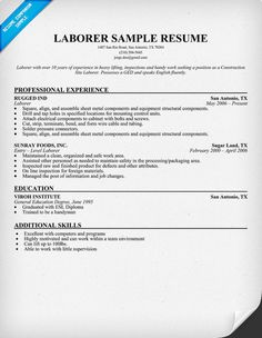 Sample Resumes For Laborers | Templates For Resumes For College ...