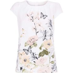 Cream Floral Print Shell Top ($35) ❤ liked on Polyvore