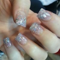 Silver Glitter French Tip Acrylic Nails   N A I L S ...