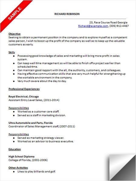 entry level marketing job resume sample - Entry Level Marketing Resume Samples