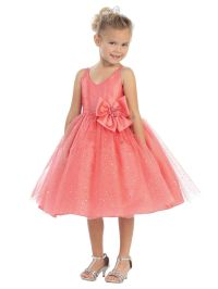 coral flower girl dress sparkles and bow | Coral Wedding ...