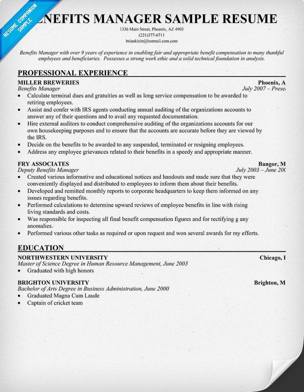 High School Resume Examples And Writing Tips The Balance Benefits Manager Resume Example The Prof Me Pinterest