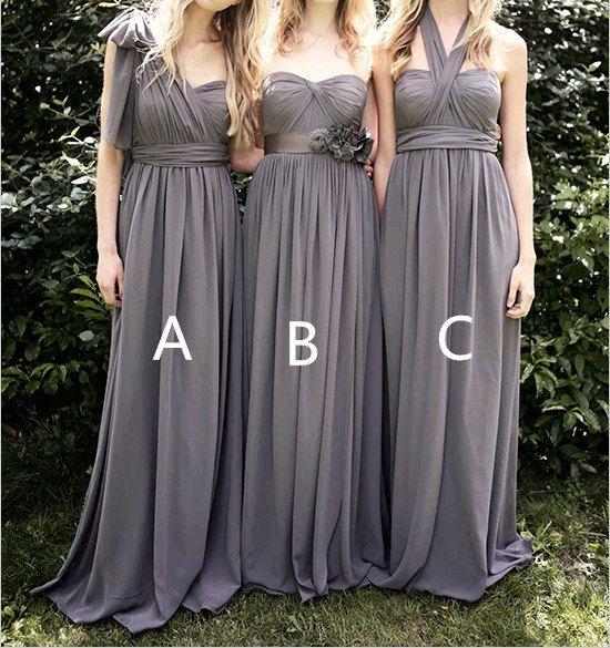 Grey Bridesmaid Dresses Long Chiffon Bridesmaid Dress by