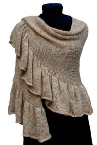 Knitting Pattern, Ruffled Crescent Shawl Knitting Pattern PDF