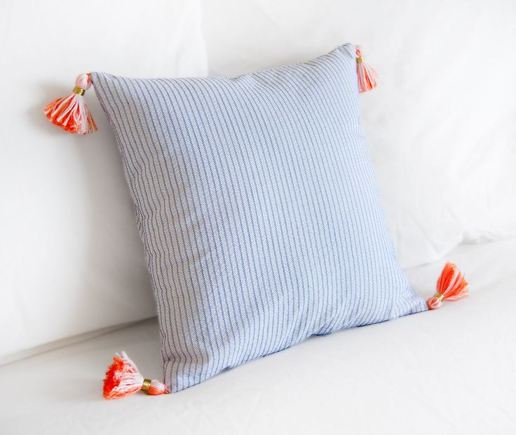 Navy and Coral Tassel Pillow