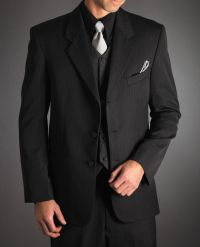 black suit vest and silver tie   The Big Day