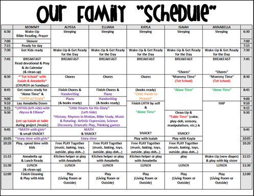 Homeschool Schedule Example School Stuff Pinterest