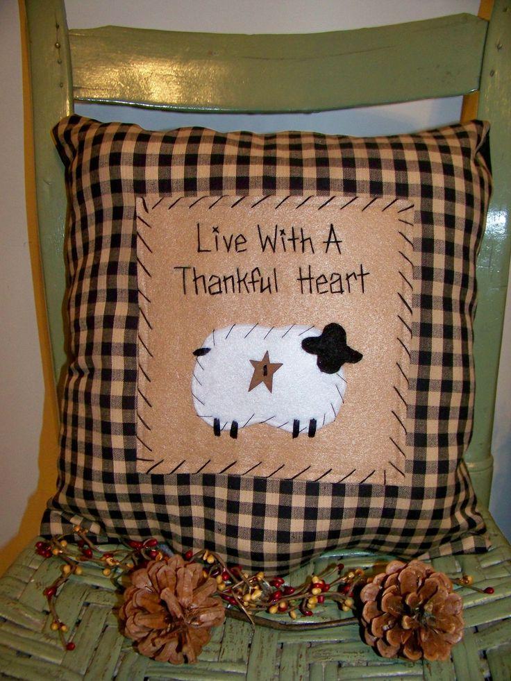Sheep Pillow Primitive Stitchery Country Decor Rustic