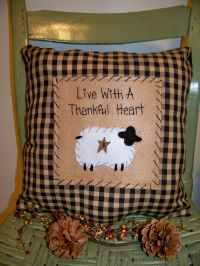 Sheep Pillow Primitive Stitchery Country Decor Rustic