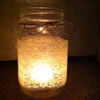 Lace mason jar candle holder   Let's Get Crafty   Pinterest