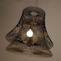 Love this wire basket lamp shade.