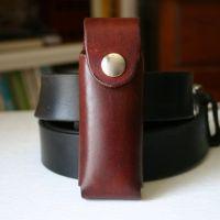 Brown Leather pocket knife holder for belt