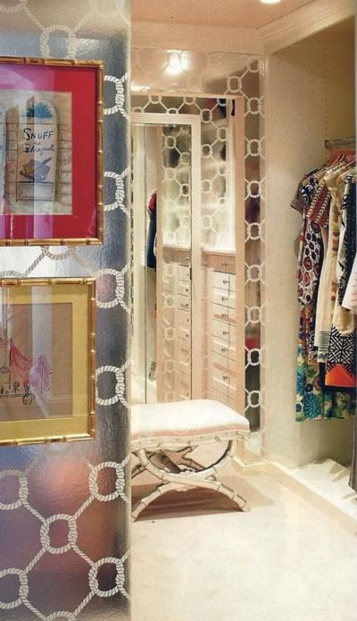 closet... mirrored wallpaper... | dressing room dream | Pinterest