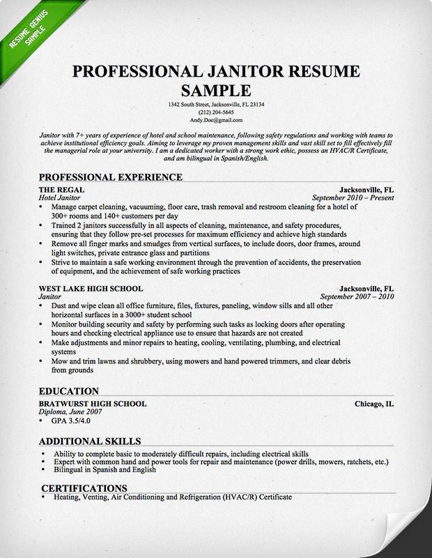resume samples for janitorial positions