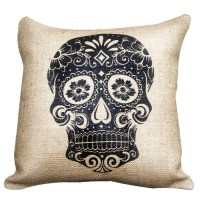 Sugar Skull Burlap Pillow in Beige