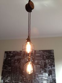 Steampunk Barn Wood Pulley Pendant Light - Antique Brass ...
