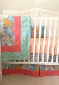 Bumperless Crib Bedding Set Teal Peach Coral