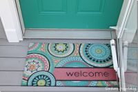 front door and welcome mat | All things Turquoise | Pinterest