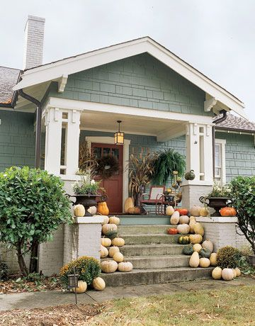 southern bungalow exterior - Google Search pumpkkns pumpkins pumpkins on the porch!!!!