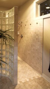 Walk in no door shower. | bathroom ideas | Pinterest
