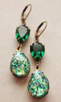 Vintage Emerald Opal Earrings,Emerald Green Fire Opal,RARE ...