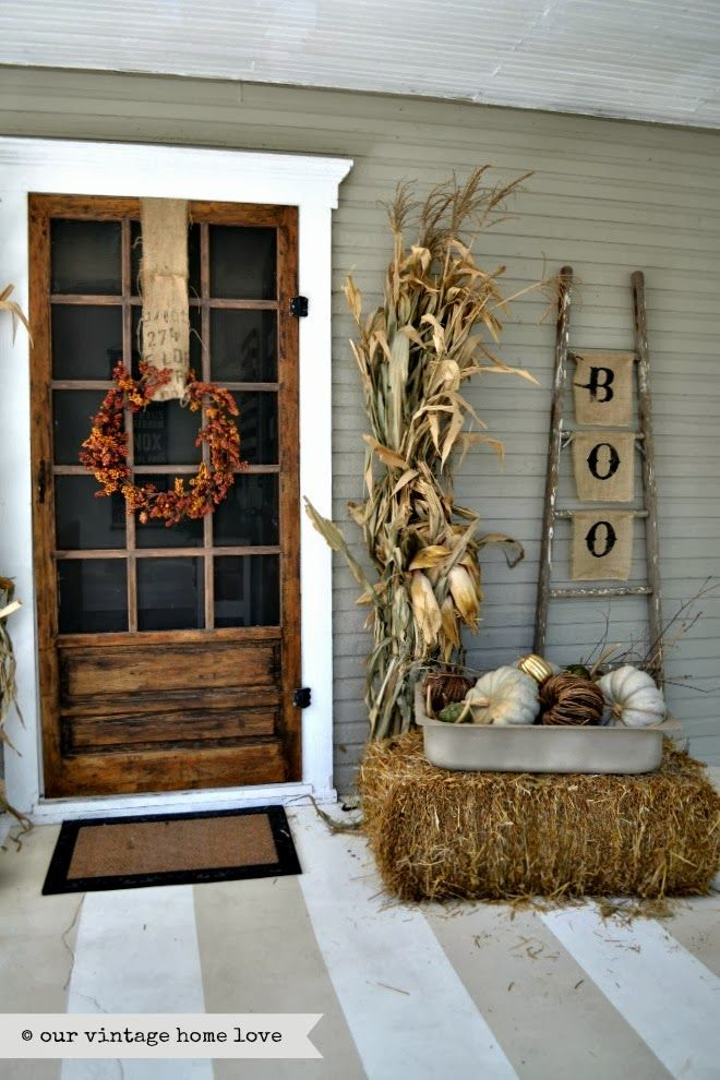 Fall Front Porch Ideas ! Love all her Ideas ! (And she used the same scrap burlap trick to hang wreath I do! It's A big impact for pennies ! Just go Buy wide width burlap scraps from local fabric store (usually in back in small plastic bags). The most I have ever Payed is two dollars ! Try It !
