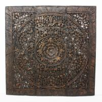 Hand-carved Black Stained Lotus Teak Wood Wall Panel ...
