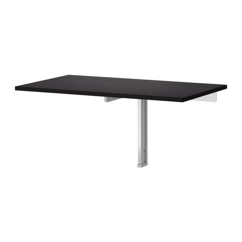 Drop Leaf Wall Table Bjursta Wall-mounted Drop-leaf Table, Brown-black